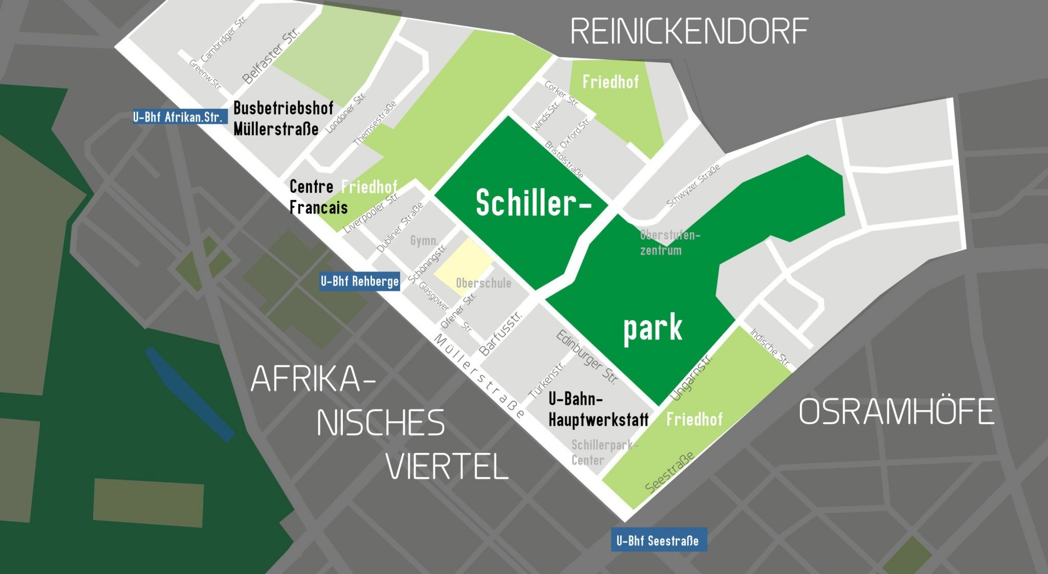 Karte des Englischen Viertels in Berlin-Wedding
