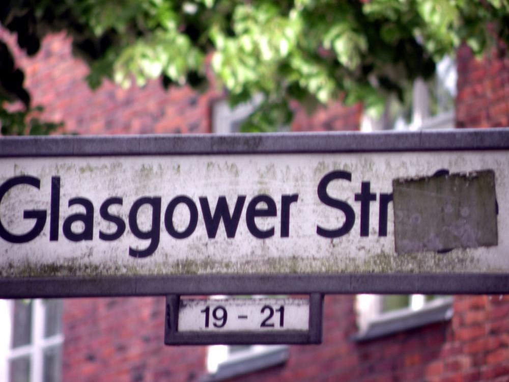 Straßenschild Glasgower Str