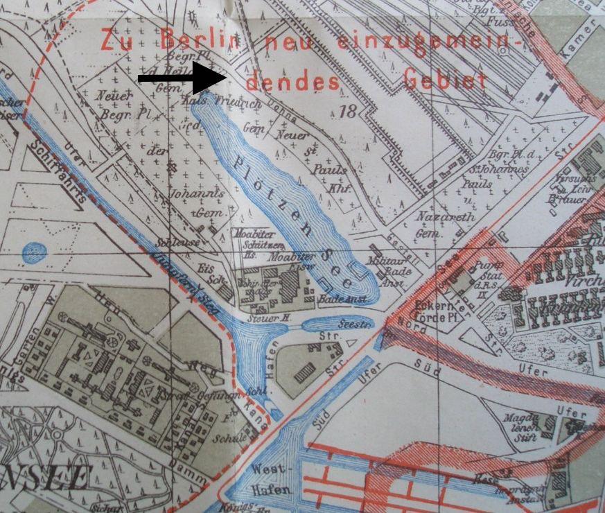 Straßenkarte 1915 mit Friedhof am Plötzensee