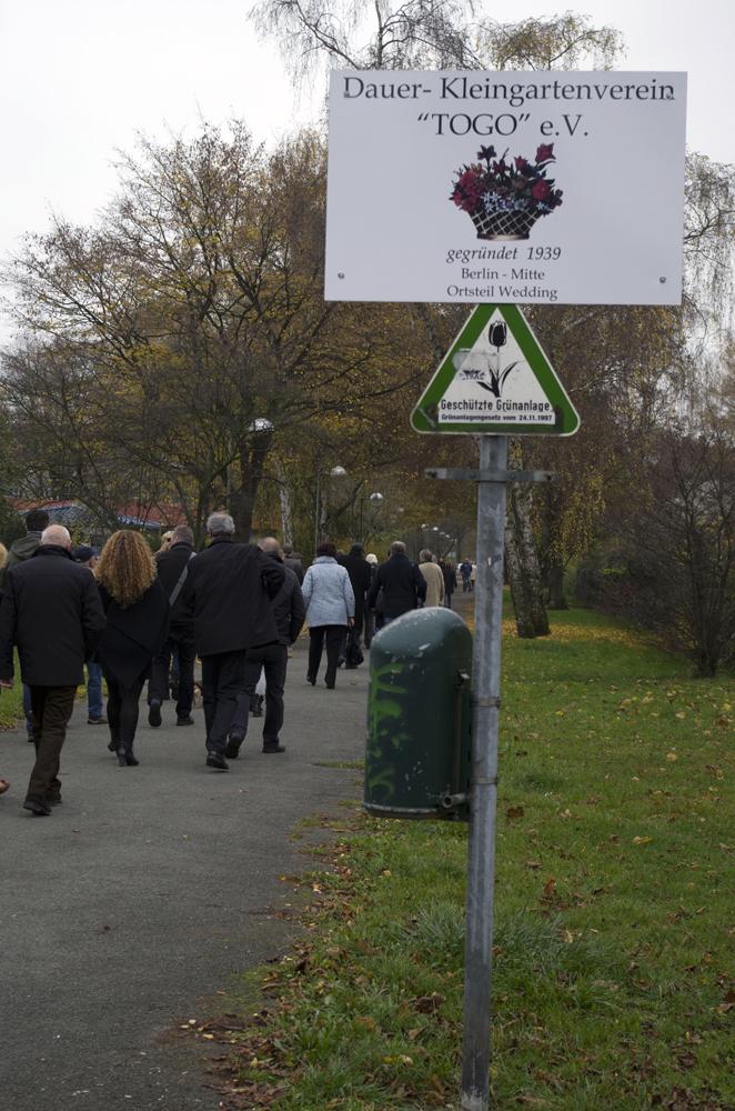 Das neue Schild des Kleingartenvereins.