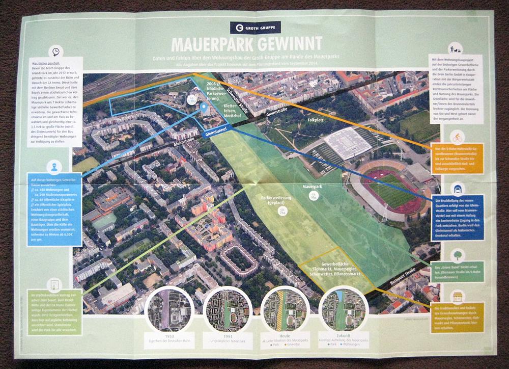 """Mit dieser Broschüre """"Mauerpark gewinnt"""" warb der Investor vergangenen Herbst bei Anwohnern für sein Projekt. 60 000 Stück wurden verteilt."""