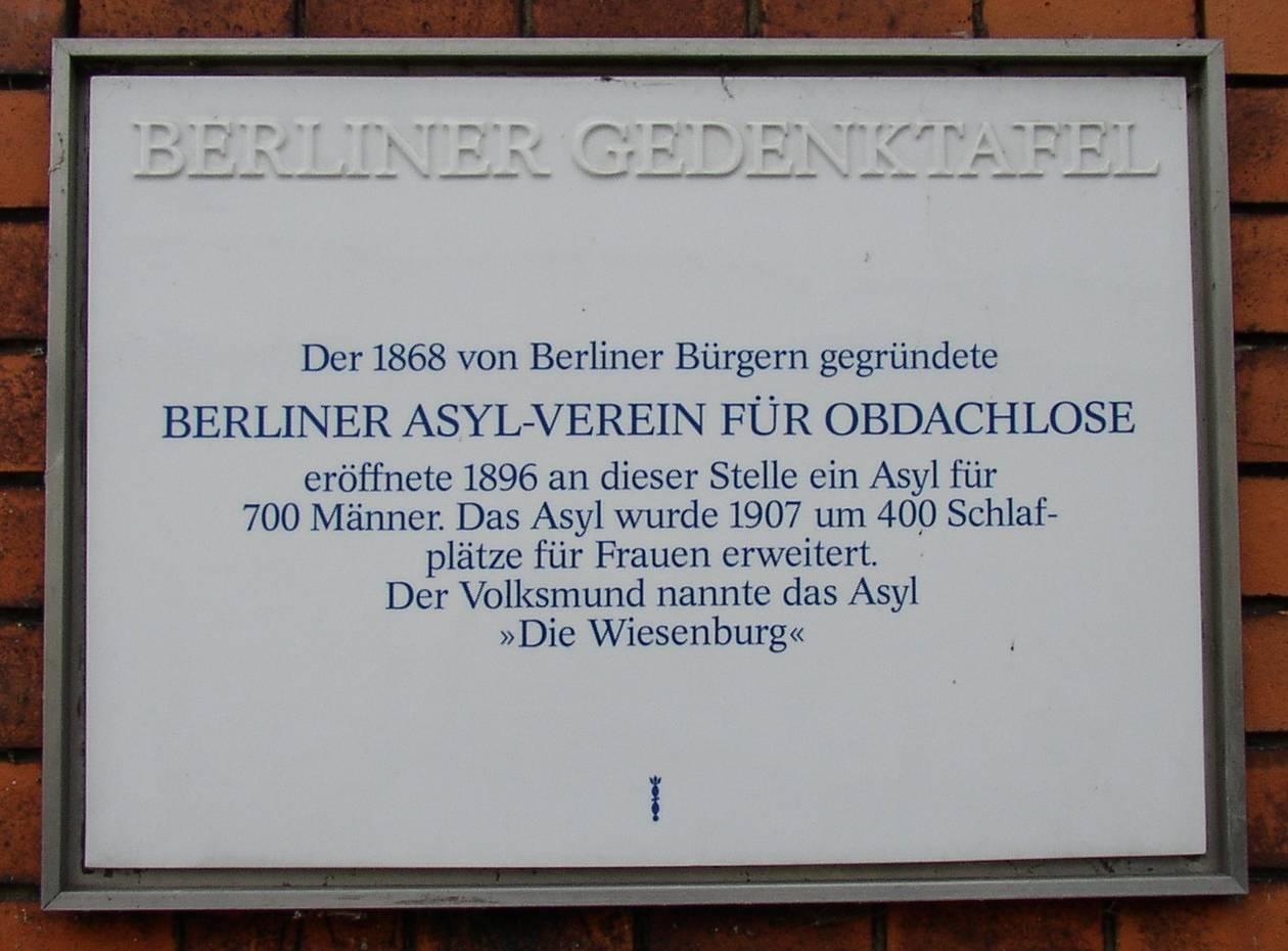 Gedenktafel für den Berliner Asyl-Verein