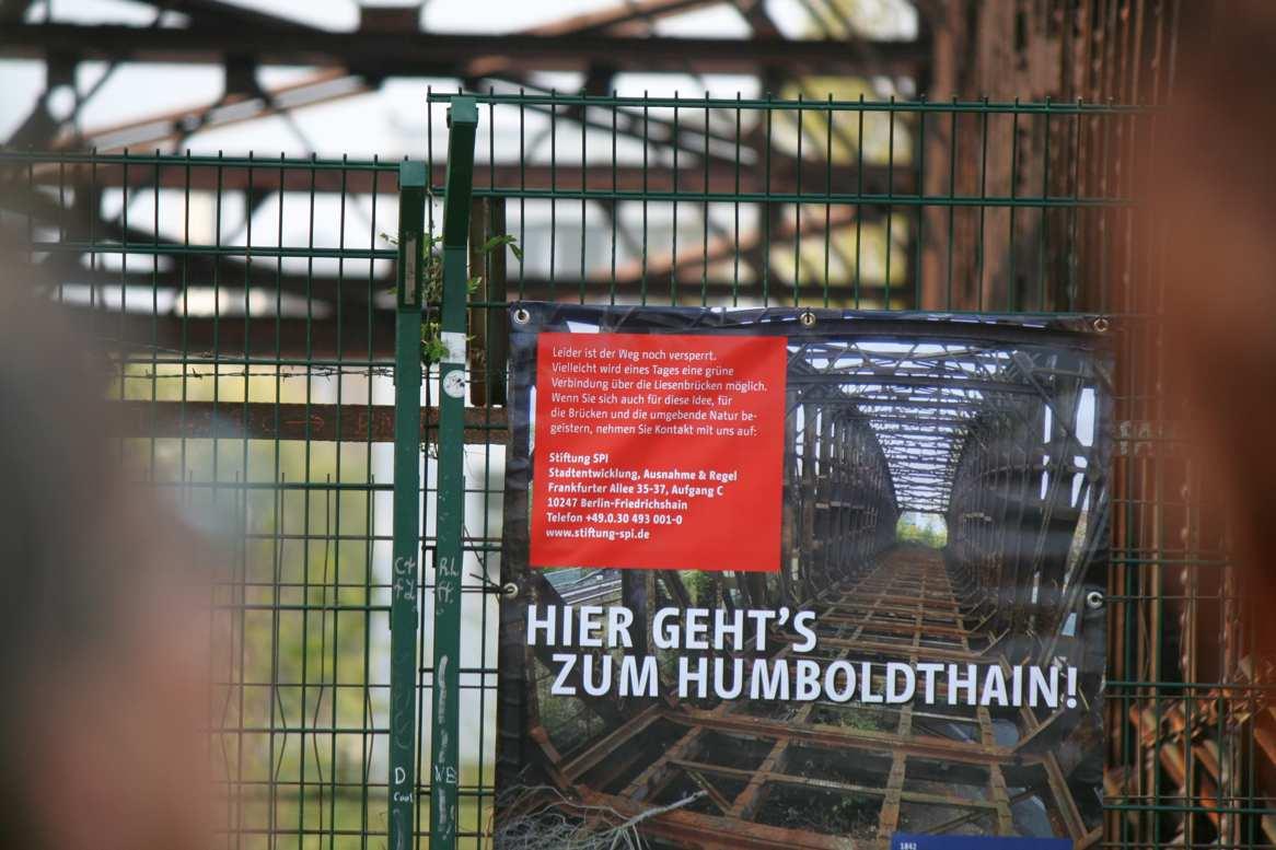 Plakat: Hier gehts zum Humboldthain.
