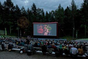 Kinopublikum vor der Leinwand im Freiluftkino Rehberge
