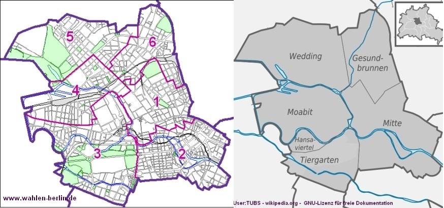 Die bisherige Aufteilung in 6 Wahlkreise. Bild: www.wahlen-berlin.de und wikipedia