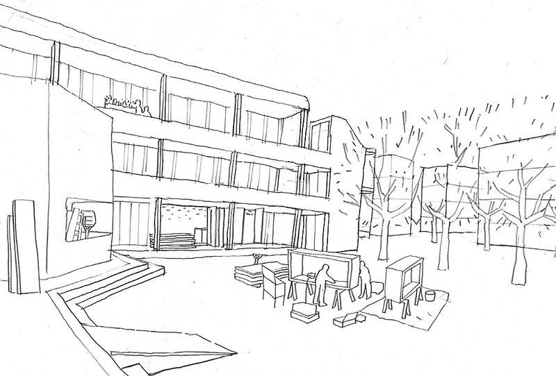Wie die orangefarbene Schule zu Wohnungen umgebaut werden soll - Grafik pswedding