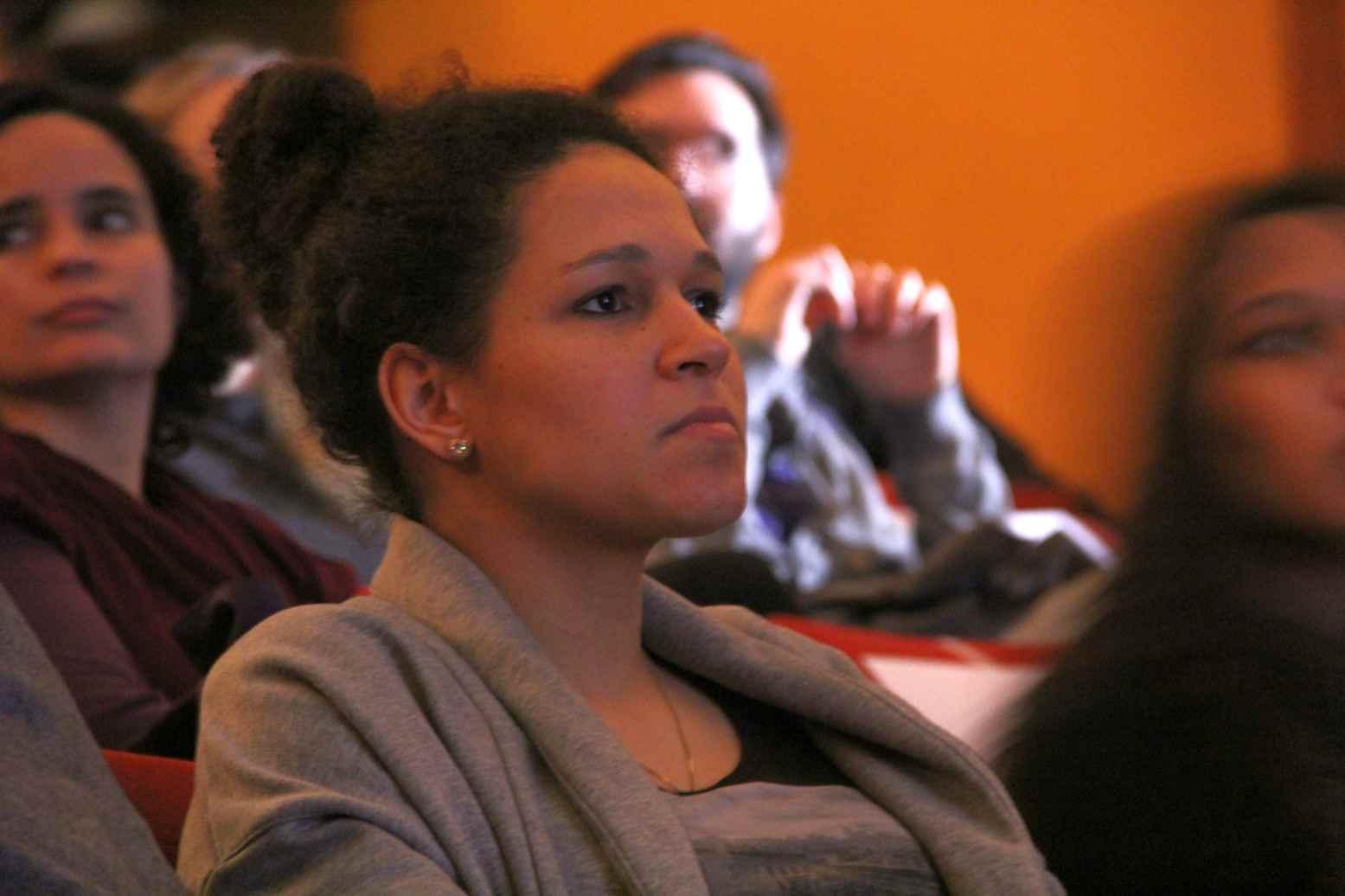 Im Publikum und später auf dem Podium: Ex-Profi Celia Sasic. Foto: Andrei Schnell