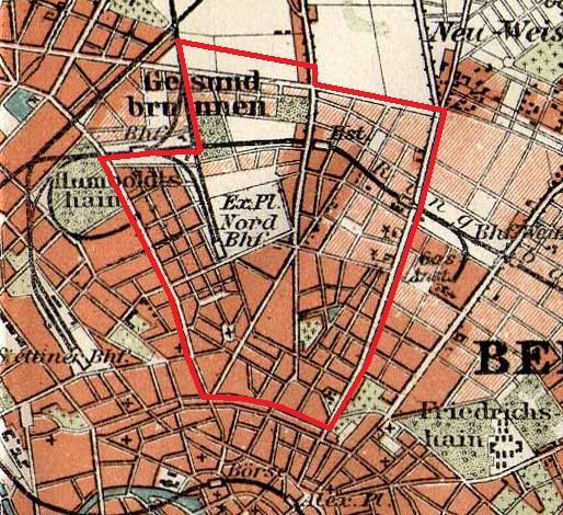 Karte der Rosenthaler Vorstadt von 1831 bis 1920. Quelle: Bibliographisches Institut in Leipzig. Wikipedia.