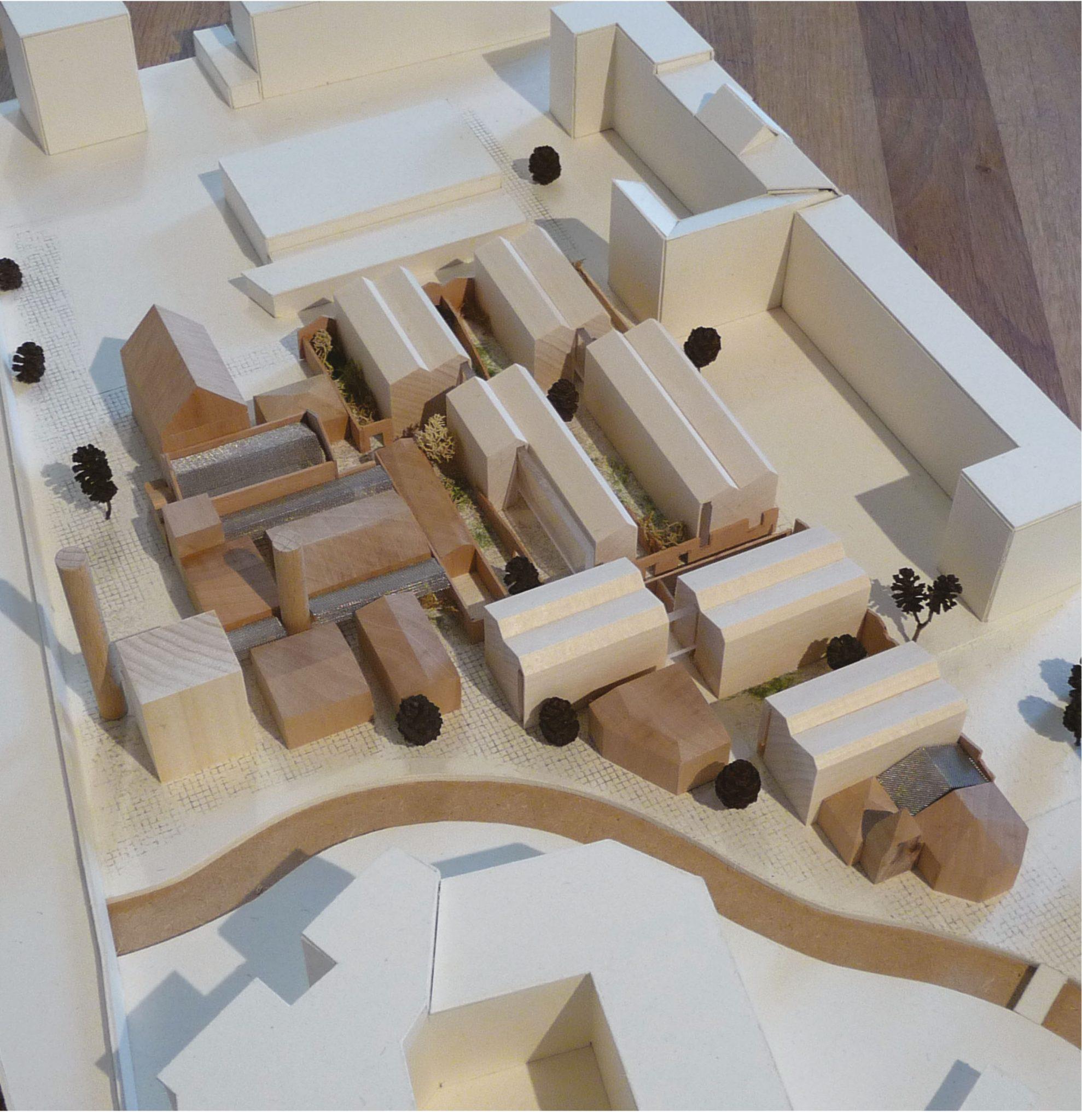 Ruinenreste der Wiesenburg sollen erhalten bleiben, erkennt die Jury am Modell des Büros Die Zusammenarbeiter. Modell: Die Zusammenarbeiter.