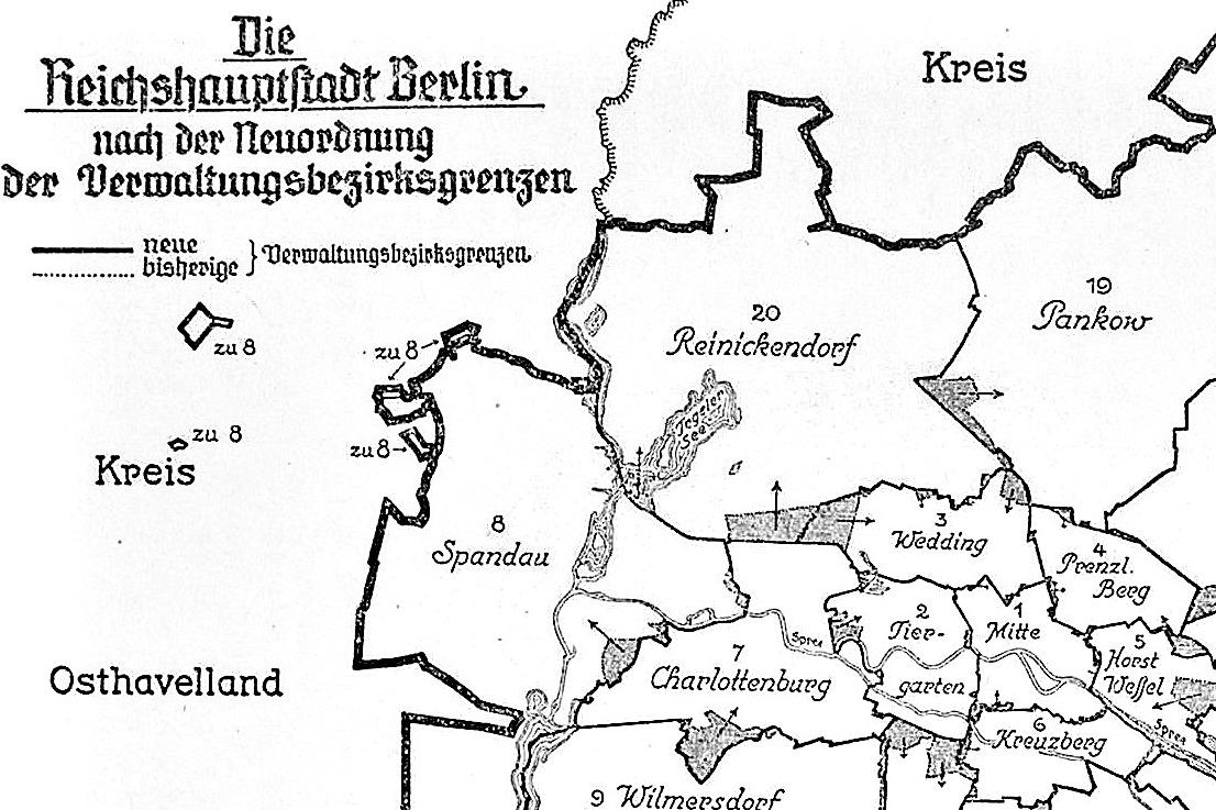 Ausschnitt einer Karte des Statistisches Amt der Reichshauptstadt zur Neueinteilung der Bezirke 1938. Gemeinfrei.