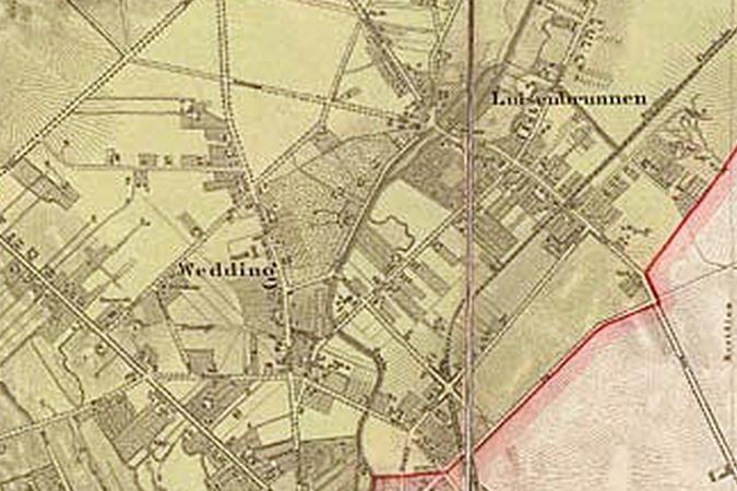 Ausschnitt aus einem Plan von Ferdinand Boehm zur Eingemeindung von 1860.