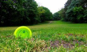 Im Vordergrund ist eine quietschgrüne Scheibe, eine schwere Frisbee, im Hintergrund ist eine Wiese zu sehen.