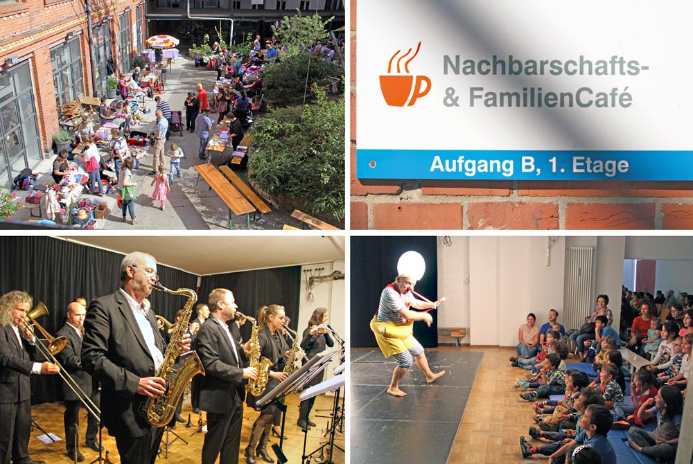 In der NachbarschaftsEtage: Flohmarkt, Konzert und Kindertheater. Collage: D. Hensel