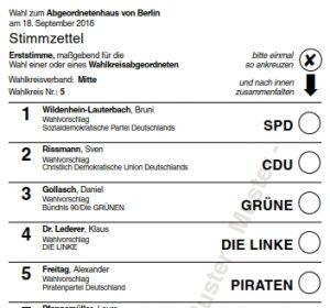 Muster Stimmzettel Direktkandidaten (Erststimme) Wahlkreis 5. Grafik Landeswahlleiter Berlin.