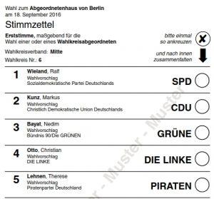 Muster Stimmzettel Direktkandidaten (Erststimme) Wahlkreis 6. Grafik Landeswahlleiter Berlin.