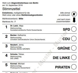 Muster Stimmzettel Direktkandidaten (Erststimme) Wahlkreis 7. Grafik Landeswahlleiter Berlin.