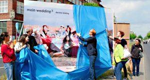 Bei der Eröffnung der Ausstellung in der Müllerstraße im vergangenen Jahr. Mein Wedding4
