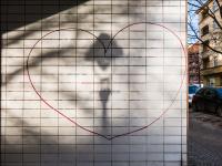 Herz, Straßenlaterne, Schatten, Eulerstraße