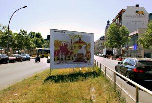 """Ein Plakat der Ausstellung """"mein wedding 4"""" auf der Müllerstraße mit einem Motiv von Susanne Haun. Foto: Hensel"""