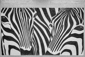 Kunstwerk: Zebras aus Mosaiksteinen