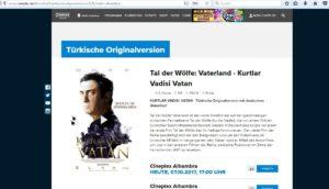 """Auf dem Programm des Alhambra steht der Film """"Tal der Wölfe: Vaterland"""". Screenshot: Hensel"""
