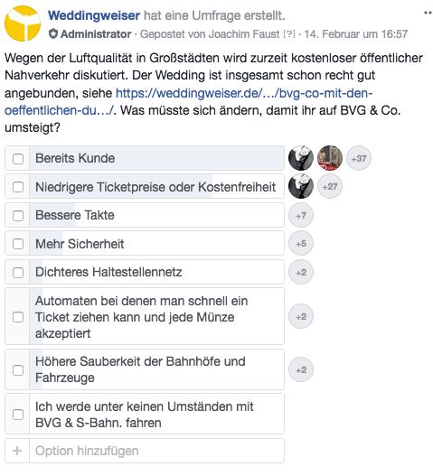 Umfrage Facebook Umstieg auf BVG