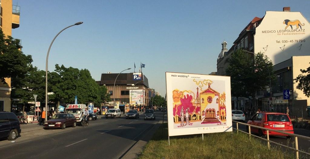 """Plakatgestaltung im Rahmen von """"mein wedding 4"""", 2017 auf der Müllerstraße. Foto M.Fanke"""