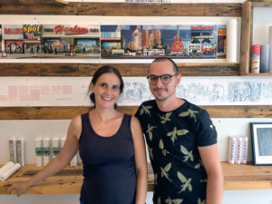 Antonia und Johann vom Verlag Round not Square in der Eulerstraße. Foto: A. Oertel
