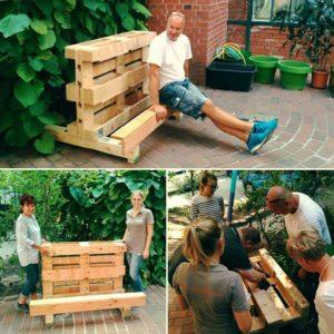 Die Prototypen für die Hochbeete sind schon fertig! Foto: FreiwilligenAgentur