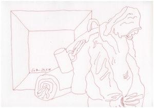"""Susanne Haun, """"Obdachlos - das Paradies kann warten"""" Serie von 50 Zeichnungen, 2018, Tusche auf Büttenpapier, 20 x 30 cm"""