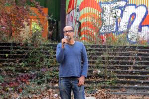 Les Schliesser von ExRotaprint bei der Kundgebung. Foto: Hensel