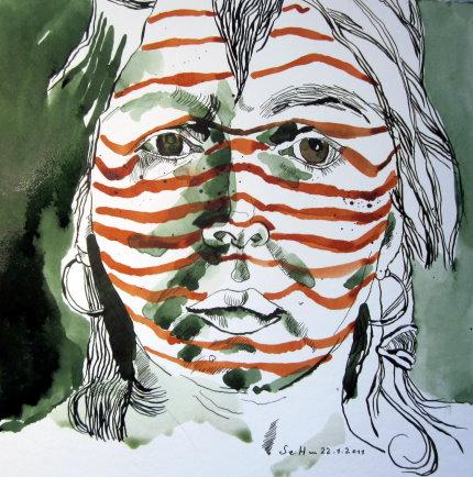 Ich als Streifenhörnchen - 20 x 20 cm auf Hahnemühle Aquarellkarton - Zeichnung von Susanne Haun (C) VG Bild Kunst, 2018