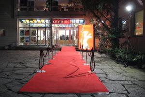 Der rote Teppich für die Berlinale im City Kino Wedding ist ausgerollt. Foto: Hensel