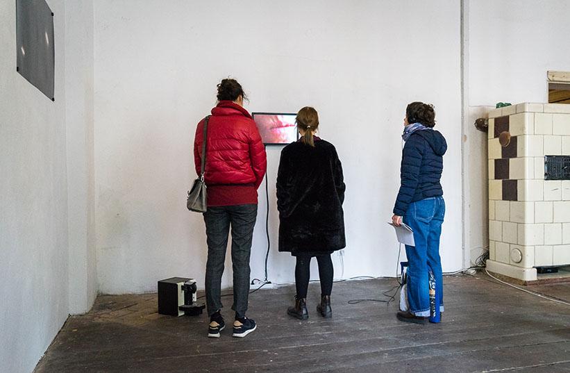 Besucher in einer Ausstellung vor einem Video