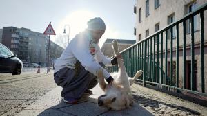 Zuschauer und Begleiter: Hund Ngandi ist mit dabei und wartet geduldig, wenn Alex die Hindernisse der Stadt überwindet. Für die Geduld gibt es hier Streicheleinheiten. Foto: Paul Alpha