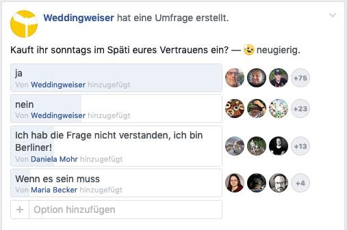 Screenshot einer Facebookumfrage