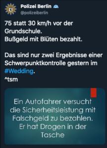 Tweet der Polizei nach einer Tempokontrolle im Wedding