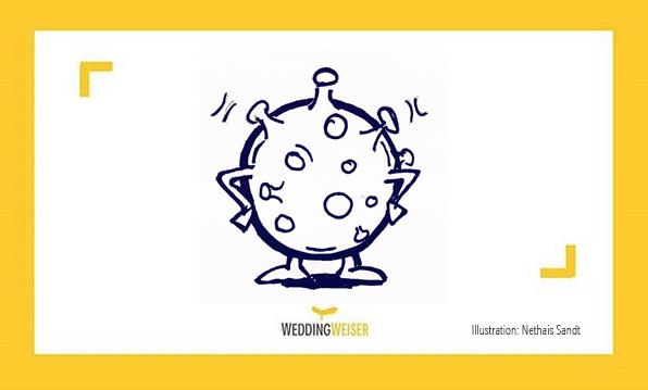 Eine Zeichnung eines Corona-Virus.