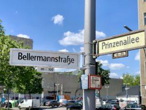 Straßenschild Bellermannstraße Prinzenallee Straßenname