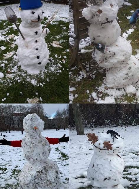Schnee und Schneemänner