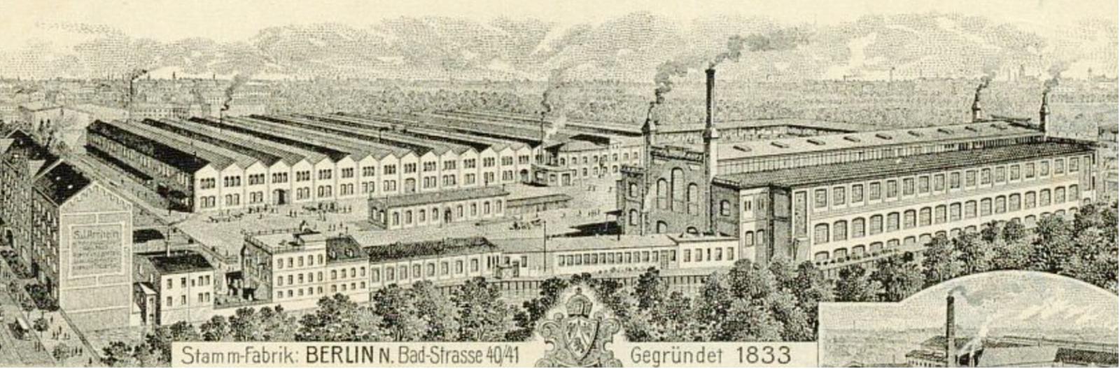 Briefkopf Tresorfabrik Arnheim im Wedding mit Wohnhaus Badstraße und Fabrik bis zur Osloer Straße