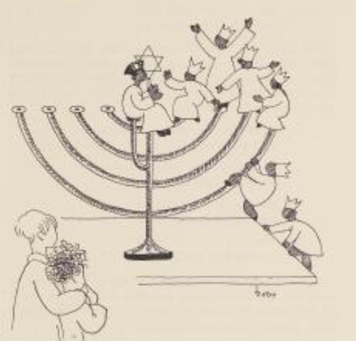 Illustration Chanuka aus dem Buch Feiertags-Märchen, von Dodo Bürgner, 1935, S. 33
