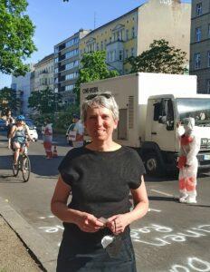 Ragnhild Sørensen von Changing Cities auf dem Pop-up Radweg
